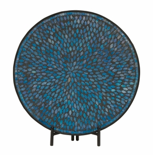 Unique Metal Blue Mosaic Platter With Easel - 24049 by Benzara