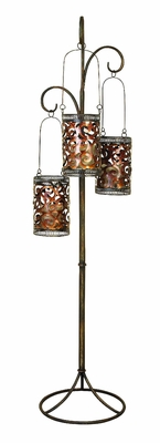ARTISTICALLY DESIGNED METAL FLOOR CANDLE LANTERN - 41970 by Benzara