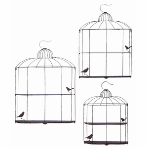Bird Cage Design Metal Shelf In Metallic Silver Finish - Set Of 3 - 20205 by Benzara