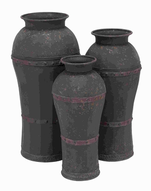 Set Of 3 Metal Vase With Antique Weathered Finish - 20220 by Benzara