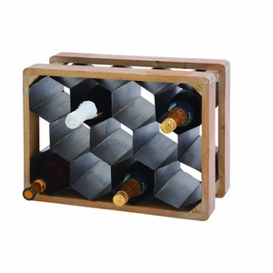 Unique Metal Wood Wine Holder by Benzara