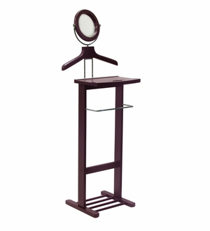 Unique Valet Stand with Mirror and Open Base by Winsome Woods