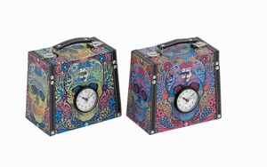 Unique Wood Canvas Clock Box 2 Assorted with Vibrant Colors  - 41042 by Benzara
