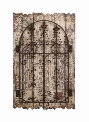 Rustic Style Wooden And Metal Wall Decor With Intricate Detailing - 34861 by Benzara