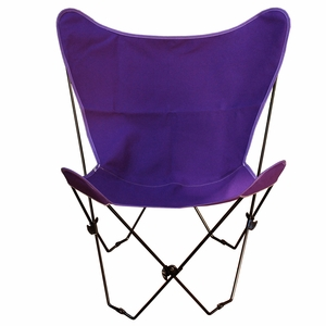 Uniquely Styled Purple Fabric Foldable Butterfly Chair by Algoma