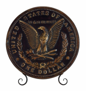 United States One Dollar Decorative Plate With Stand  - 69042 by Benzara