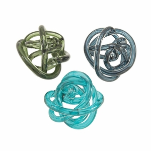 Unusual Glass Knots 3 Assorted - 61876 by Benzara