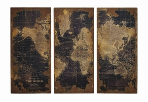 Assorted Vintage Printed World Map Wood Wall Panels Set of 3 - 14800 by Benzara