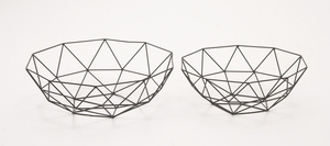 Useful Set Of Two Metal Baskets - 65488 by Benzara