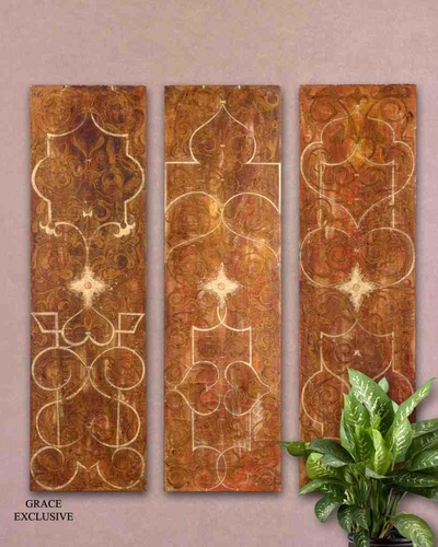 Wall Grace Design : Buy ut scrolled panel i ii iii set wall art design