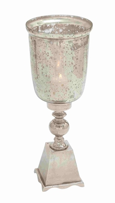 Exquisite Hurricane Glass Candle Lantern With Metal Base - 27472 by Benzara