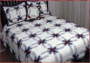 Valley Forge Double Wedding Ring Cotton Quilt Queen by American Hometex