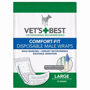 Vet's Best Comfort-Fit Disposable Male Dog Wrap 12 pack Large White