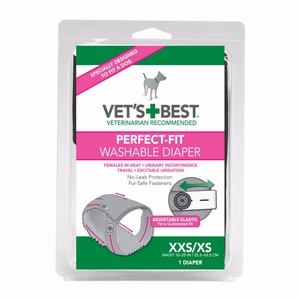 Vet's Best Perfect-Fit Washable Female Dog Diaper 1 pack XX Small / X Small Gray