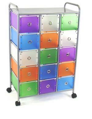 Vibrant and Classy Fifteen Rolling Drawer Metallic Stand by 4D Concepts
