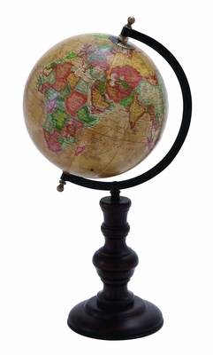 Metal Globe With Intricate Detailing And Smooth Brown Wooden Base - 38118 by Benzara