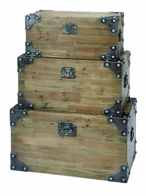 Vintage Appeal Wooden Trunk With Fitted Bolts- Set Of 3 - 53173 by Benzara