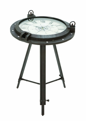 Vintage Porthole Clock Themed End Table - 55959 by Benzara