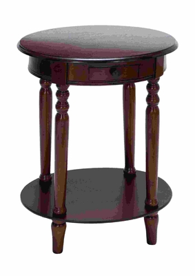 Classic Accent Table With Plum Purple Mahogany Wood - 96185 by Benzara
