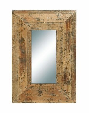 Looking Glass Style Mirror With Old Look Rectangle Frame - 69267 by Benzara