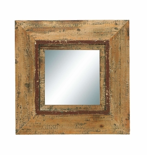 Looking Glass Style Mirror With Old Look Square Frame - 69268 by Benzara