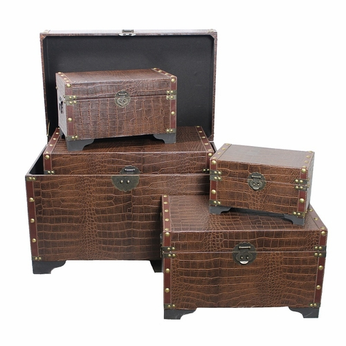 Entrada en110102 vintage styled 5pc leather trunks by for Wild orchid furniture