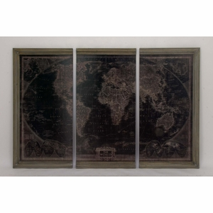 Assorted Antiqued World Map Wood Wall Panels, Set Of 3 - 47971 by Benzara