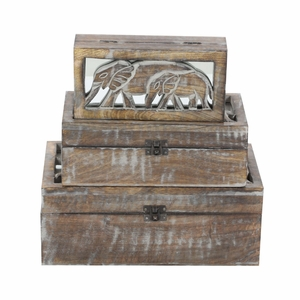 Vintage Wood Box With Elephant Engraving Lid, Set Of 3 - 96099 by Benzara