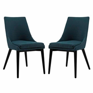 Viscount Set of 2 Fabric Dining Side Chair, Azure