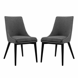 Viscount Set of 2 Fabric Dining Side Chair, Gray