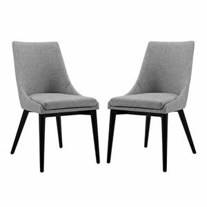 Viscount Set of 2 Fabric Dining Side Chair, Light Gray