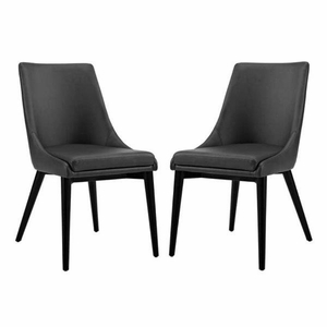 Viscount Set of 2 Vinyl Dining Side Chair, Black