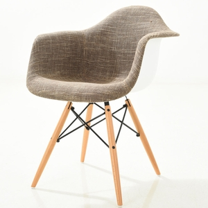 Vortex Padded Arm Chair with Natural Base in Taupe by EdgeMod