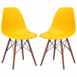 Vortex Side Chair Walnut Legs in Yellow (Set of 2)