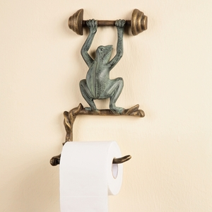Wall Mount Towel Holder with Frog Heavy Weight Lifting Figurine by SPI-HOME