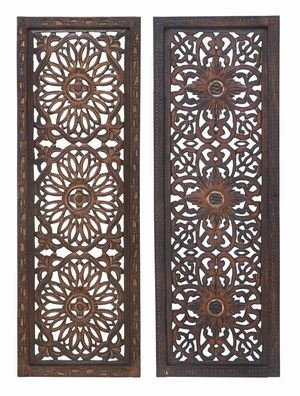 34087 Elegant Wall Sculpture - Wood Wall Panel 2 Assorted - 34087 by Benzara