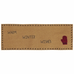Warm Wishes Runner Felt With Applique Mitten & Stencil 8x24