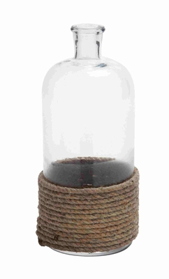 Homely Glass Bottle Flower Vase With Coiled Rope - 23831 by Benzara