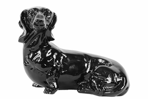Watchful and Cautious Ceramic Black Dog