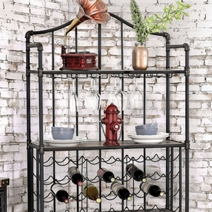 Brixton II Industrial Wine Cabinet With Foldable Table, Antique Black