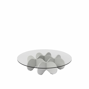 """Waverly 28"""" Round  Glass Top Accent End Coffee Table in White Gloss"""