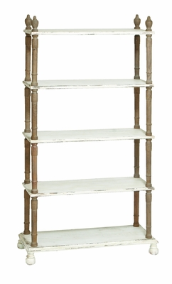 Weather Resistant Five Tier Wooden Shelf With White Finish - 20403 by Benzara