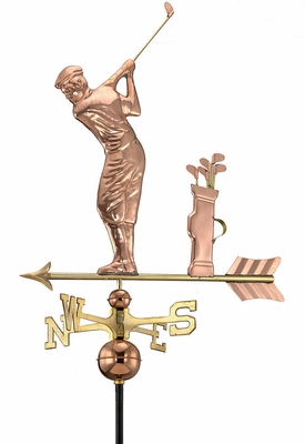 Golfer Weathervane - Polished Copper by Good Directions