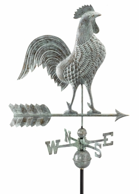 "27"" Rooster Weathervane - Blue Verde Copper by Good Directions"