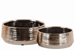 Well- Crafted Round Pot Set of Two Combed Finish- Bronze- Benzara