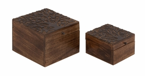 Well Designed Smart Wood Carved Box - 14447 by Benzara