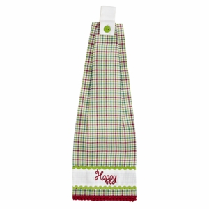 Whimsical Christmas Button Loop Kitchen Towel Set of 2
