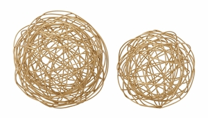 "Whimsical Set of Two Metal Wire Orb 8"" 6""W - 87447 by Benzara"