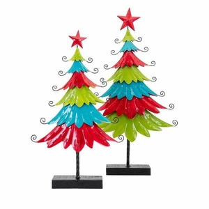 Whimsy Christmas Colorful Metal Trees - Set of 2 - Multicolor - Benzara