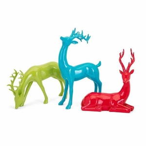 Whimsy Christmas Colorful Reindeer - Set of 3 - Multicolor- Benzara
